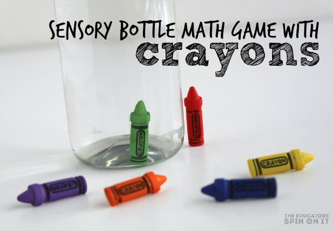 Sensory Bottle Math Game for Kids with Crayons