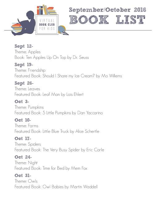 Virtual Book Club for Kids Fall Book List 2016