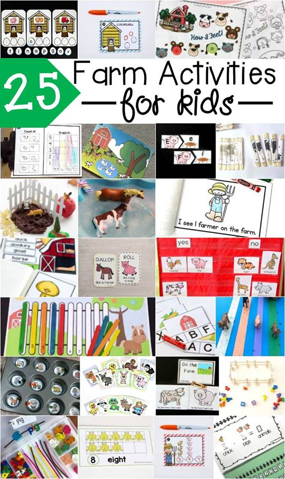 25 Fabulous Farm Activities for Kids to play and learn, Old McDonald, farm counting, farm reading, barnyard animals and more