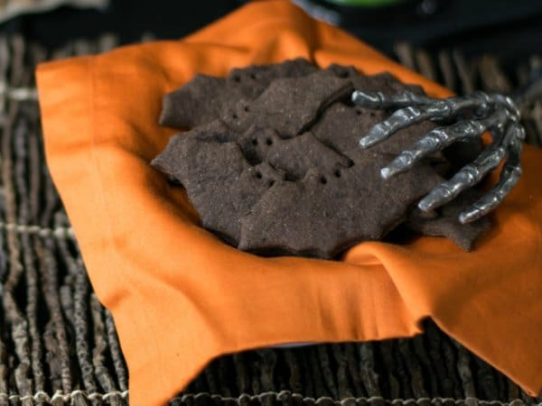 Bats and cats chocolate graham crackers PLUS 25 more Vegan Halloween Recipies in the eBookThe Ghoulish Gourmet by Kathy Hester