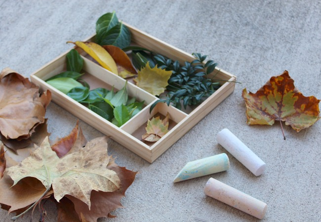 chalk activity with leaves for kids