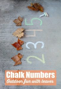 chalk numbers outdoor fun with leaves