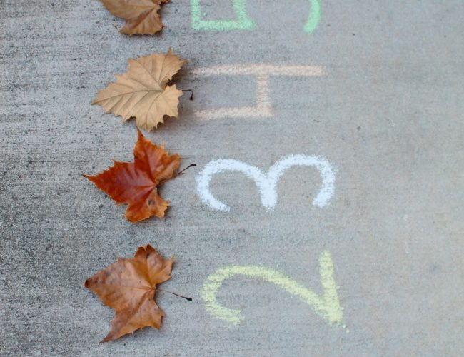 Chalk Numbers with Leaves: An Outdoor Fall Math Game for Kids