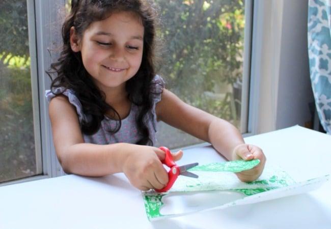 Scissor skills with apple tree craft