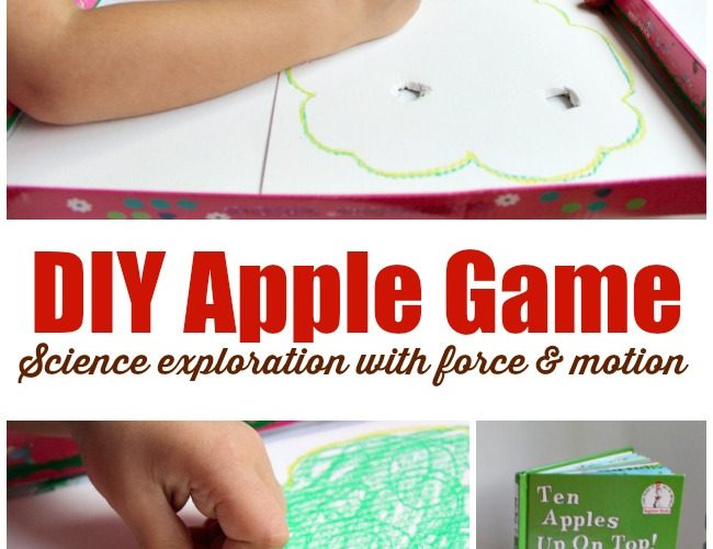 DIY apple game to explore force and motion science with preschoolers