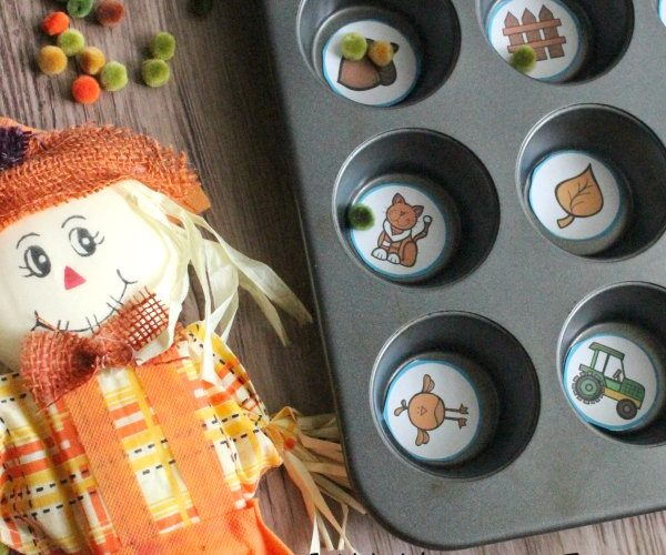 Fall Muffin Tin Syllable Counting Game for Kids