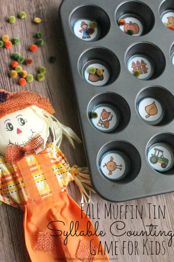 Fall Muffin Tin Syllable Counting Game for Kids to Make and Play. Learning objective: fine motor strengthening and syllable segmentation.