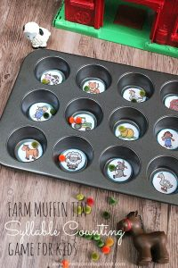 Farm Muffin Tin Syllable Counting Game for kids to make and play. Learning Objective, strengthening fine motor, syllable segmentation, and vocabulary development.