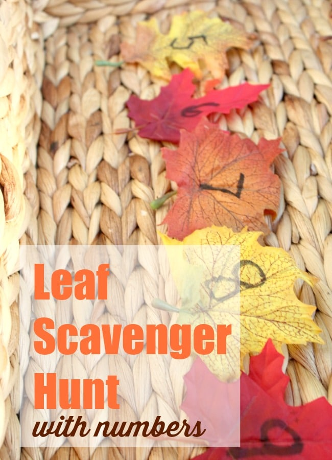 Leaf Scavenger Hunt with Numbers for Kids this Fall