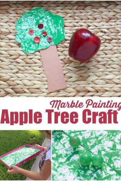 Marble Painting Apple Tree Craft