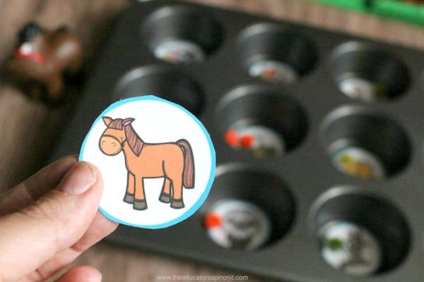 Directions to Make the Farm Muffin Tin Syllable Counting Game for Kids