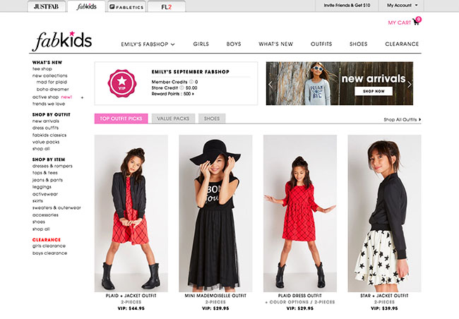 Fabkids online selections for Kids