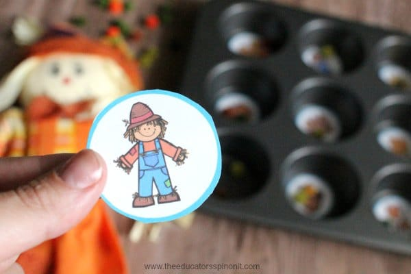Fall Muffin Tin Counting Syllable Game, Scarecrow game piece