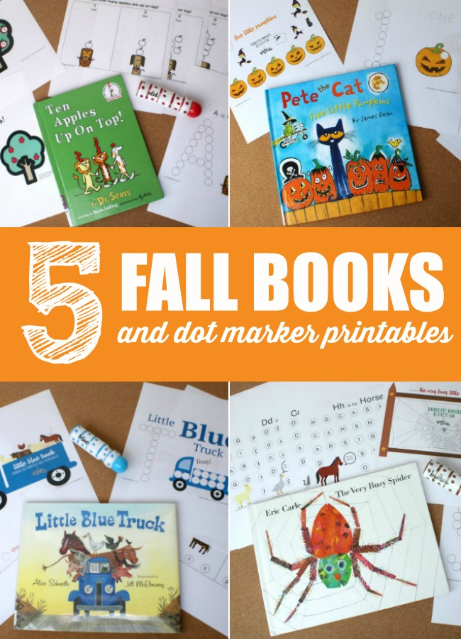 5 fall books and fall dot marker printables from fiddle and doodle