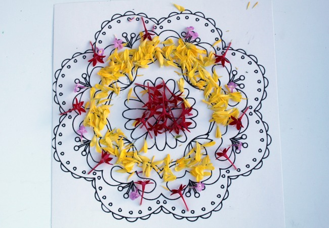 Creating a Flower Rangoli for Diwali with Kids