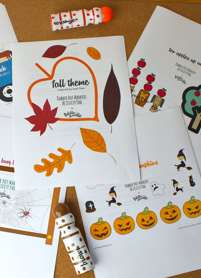 Fall Dot Marker Printables from Fiddle and Doodle