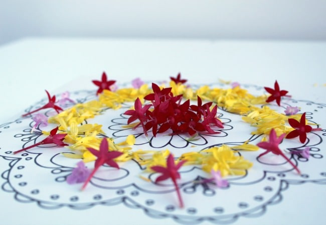Flower Rangoli Design for Celebrating Diwali