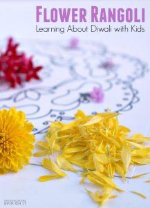 Flower Rangoli for Diwali with Kids