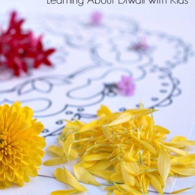 Making Flower Rangoli with Kids for Diwali