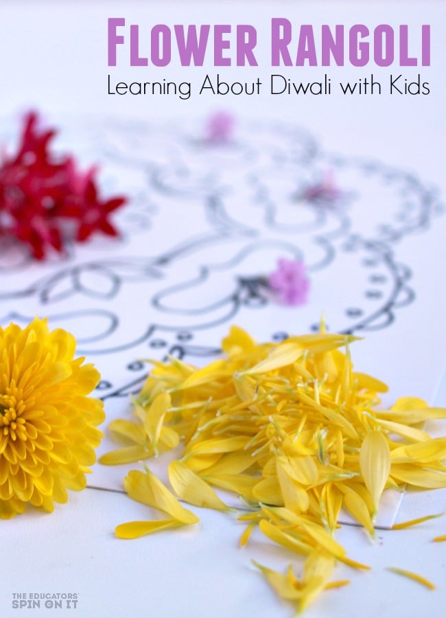 Flower Rangoli for Diwali with Kids