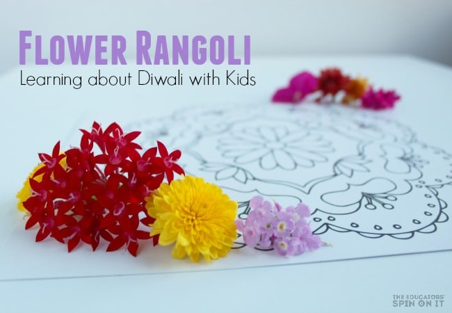 Flower Rangoli for Learning about Diwali with Kids