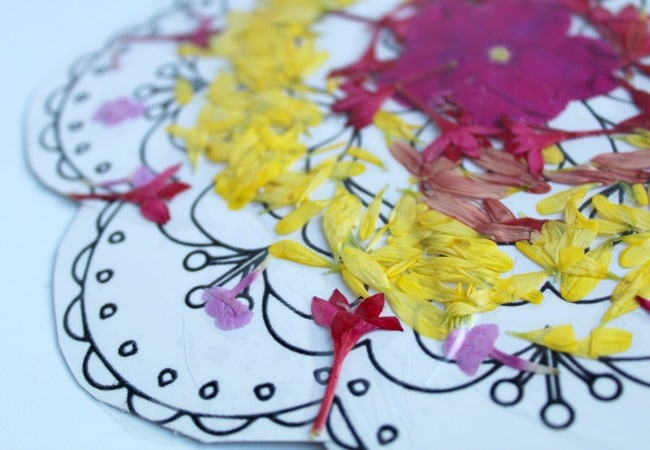 flower rangoli with contact paper for keepsake
