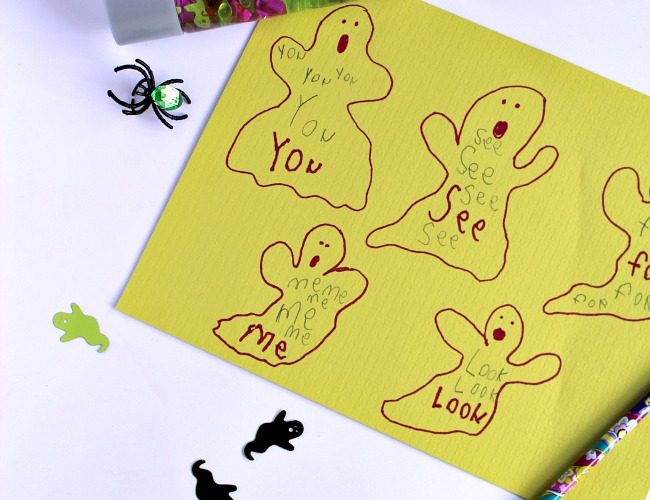 Ghost Themed Sensory Bottle Sight Word Game for Beginning Readers