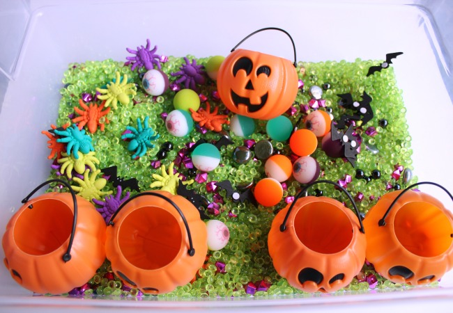 Halloween Sensory Bin for Kids with Pumpkins