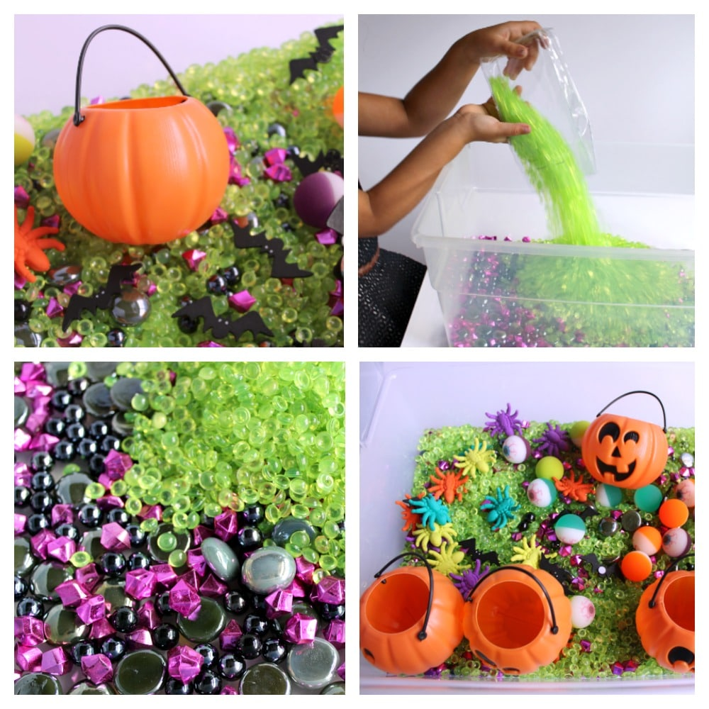 Halloween Themed Sensory Bin for Kids with Green Black and Purple