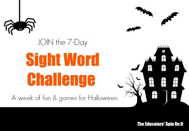 join the 7 day sight word challenge for - Halloween Word Game