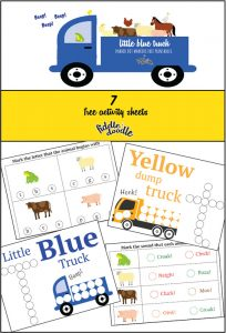 Little Blue Truck Printable with Dot Markers from Fiddle and Doodle