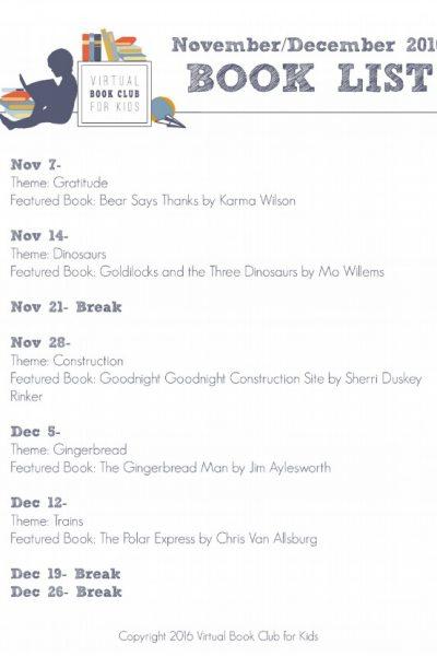 November Books for Virtual Book Club for Kids