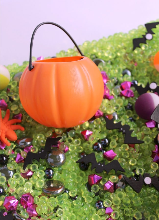 Pumpkin Sensory Bin for Halloween Fun with Kids