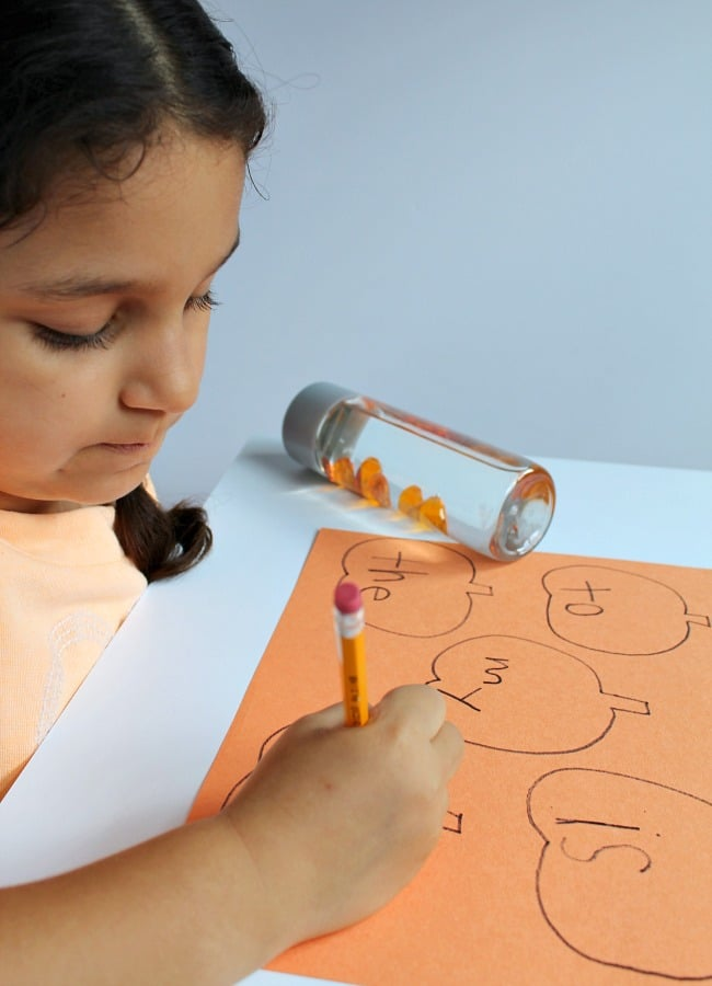 Pumpkin Sight Word Activity with Sensory Bottle