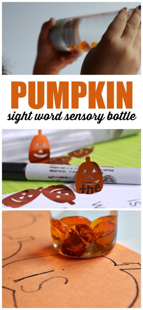 Pumpkin Sight Word Sensory Bottle Activity for Beginning Readers