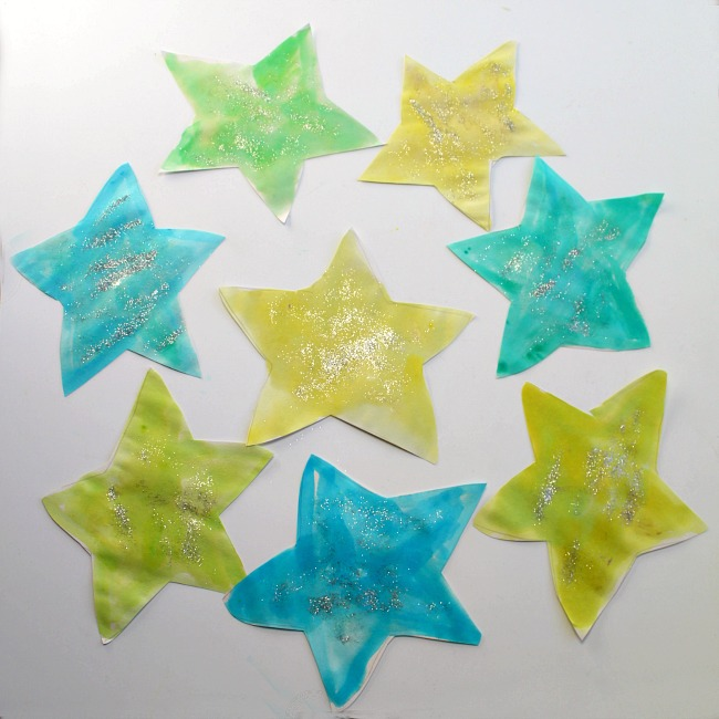 Star Galrand craft Project with glitter