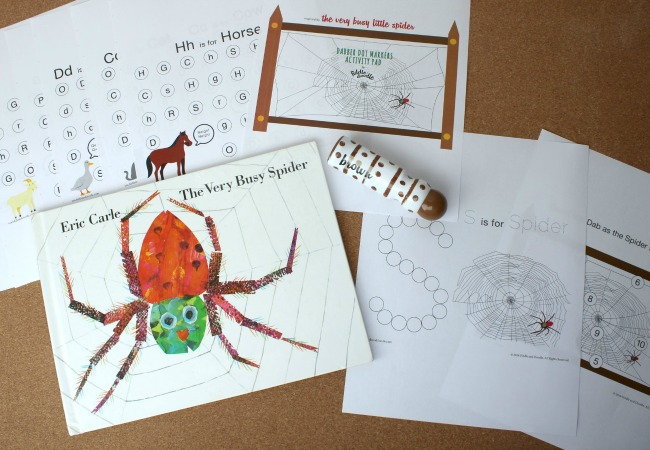 the very busy spider printable by fiddle and doodle dot markers