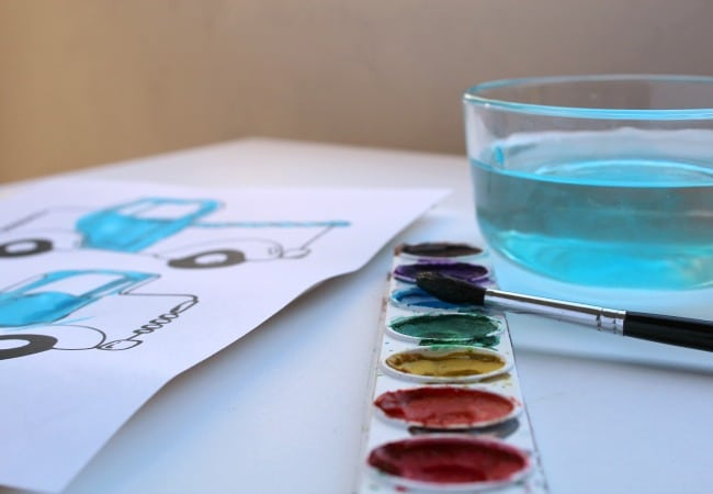 Water Color Activity for the Little Blue Truck
