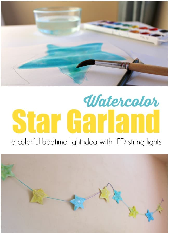 Watercolor Star Garland with LED Lights for Bedtime