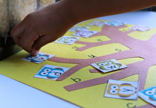 Alphabet Game with owls for preschoolers