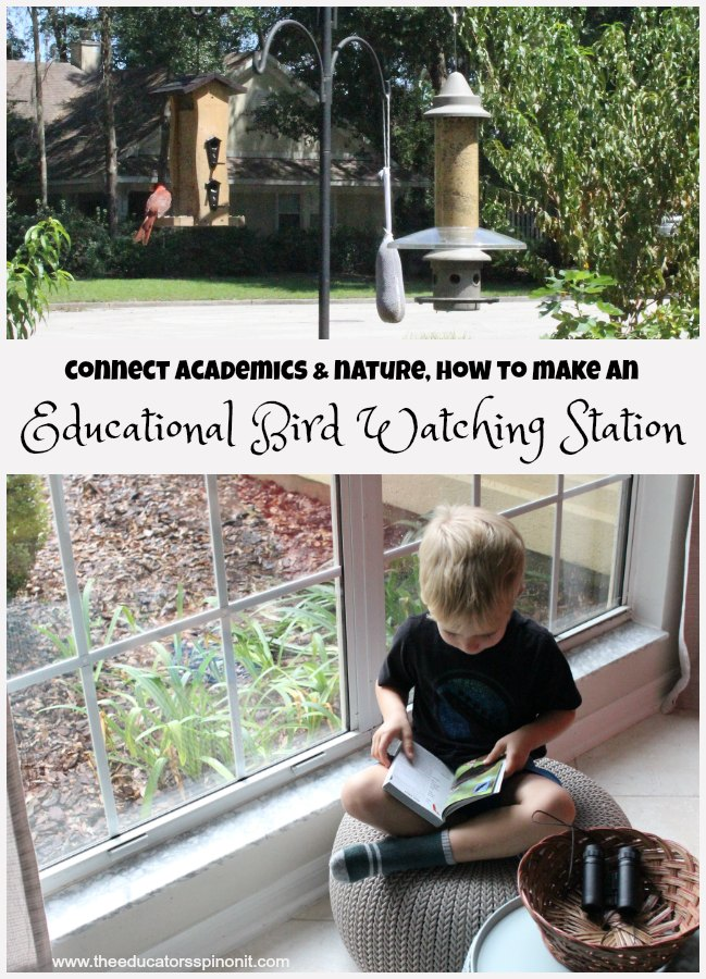 Connect academics and nature in your home or classroom. How to make an educational bird watching station with kids.