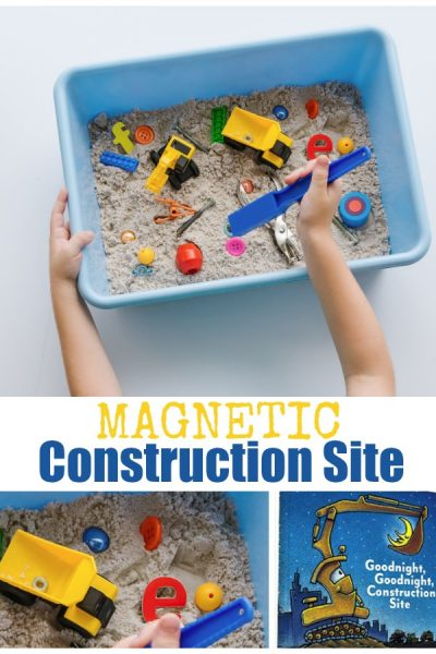 Construction Themed Sensory Bin for Preschoolers with Magnets