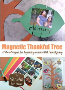 magnetic Thankful Tree a photo project for beginning readers this Thanksgiving
