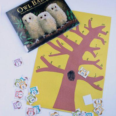 Printable Owl Themed Alphabet Game for Preschoolers