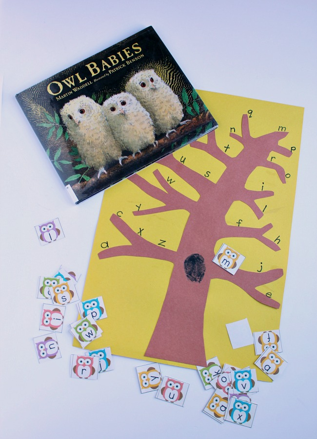 Owl alphabet game for preschoolers