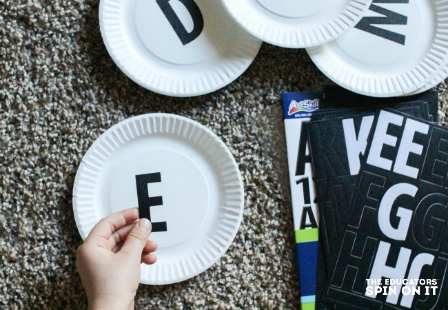 Making letter cards for Christmas Tree Alphabet Recognition Activity for Kids