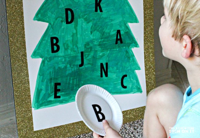 Matching letters in the Christmas Tree Alphabet Recognition Activity for Kids