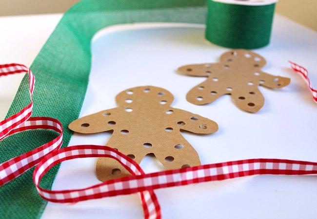 Hand-sewn Gingerbread Man with Christmas Ribbon