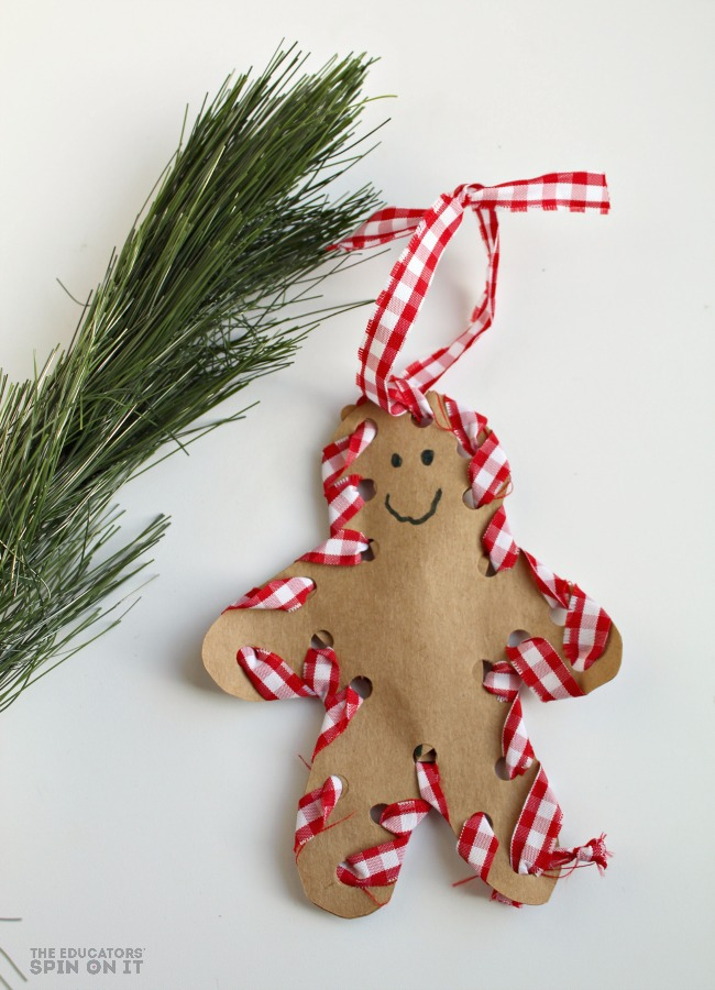 How to make a hand sewn gingerbread man ornament with your for Christmas crafts for kindergarten class
