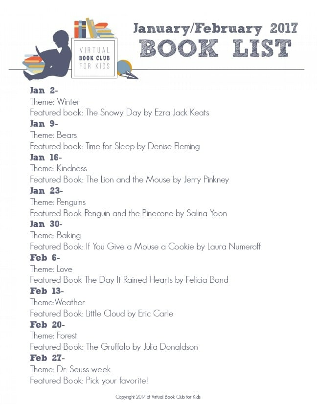 January-February Book List for Virtual Book Club for Kids 2017